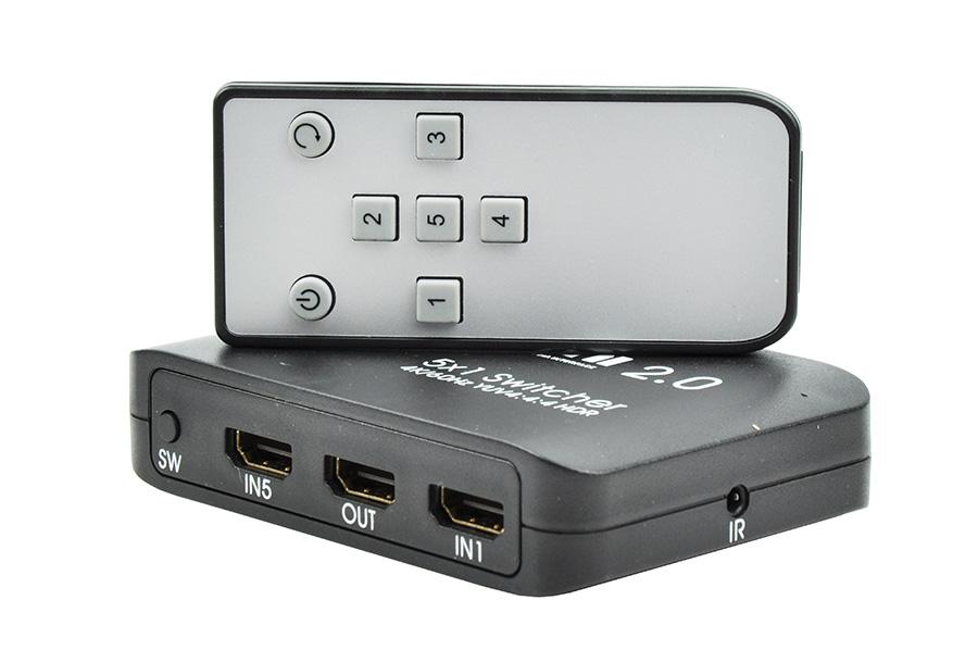 Przełącznik HDMI 5x1 4K/60Hz z pilotem