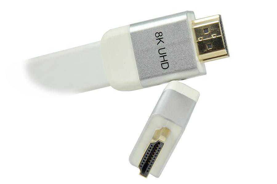 Kabel HDMI biały płaski 2.1 8K UHD 3,0m